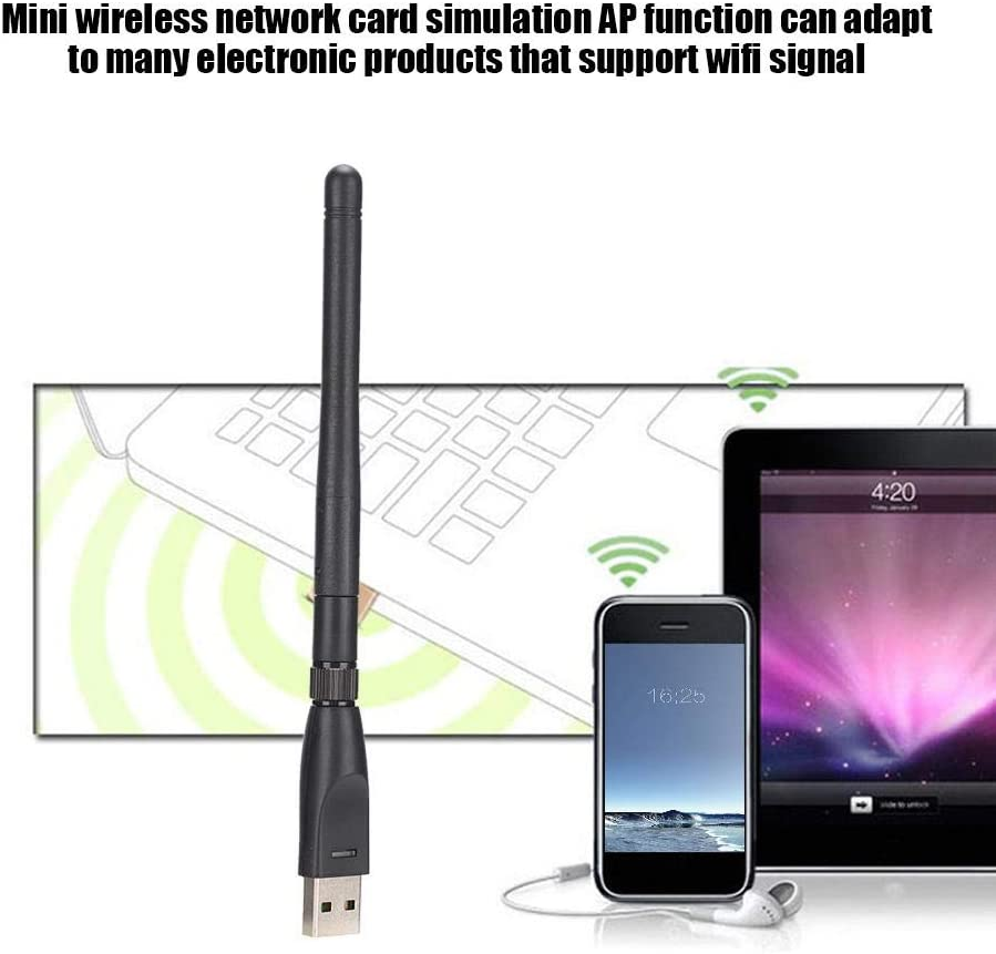 ASHATA Wireless Network Card,USB Wireless Adapter Network Card Antenna High Sensitivity WiFi Receiver with RT5370 Chip,for Windows CE//XP//for Vista 7; for Linux 2.6.X; for Mac OS X