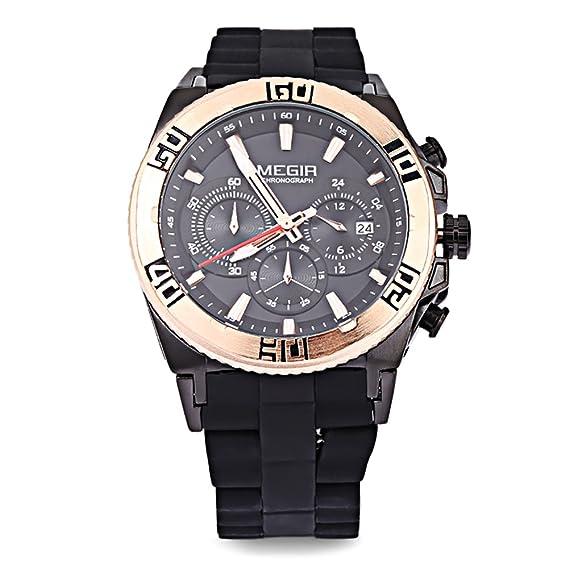 Leopardo tienda Megir m3009 macho Fashion reloj de cuarzo luminoso puntero Cronógrafo calendario resistente al agua multifuncional reloj de pulsera # 1: ...