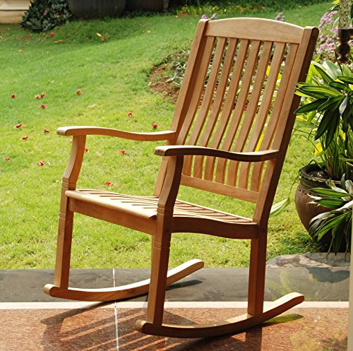 Cambridge-Casual AMZ-130574T Arie Teak Rocking Chair, Natural Teak Natural Rocker