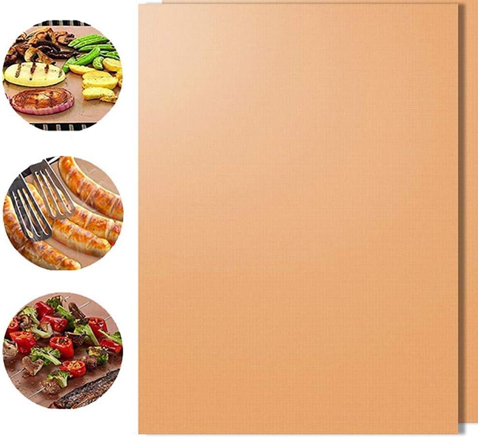 LUFKLAHN 5pcs cuivrées Barbecue Mat, PTFE résistant à la Chaleur Barbecue Mat (Color : A) A