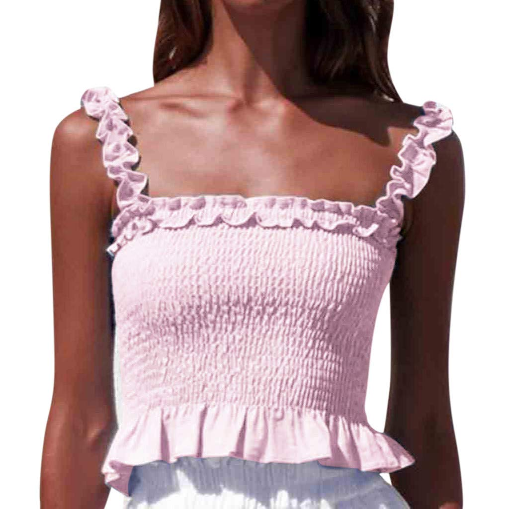 Fashion Womens Tank Tops Sleeveless Lace-Neck Sling Vest Ruffle Hem Blouse (L, Pink)