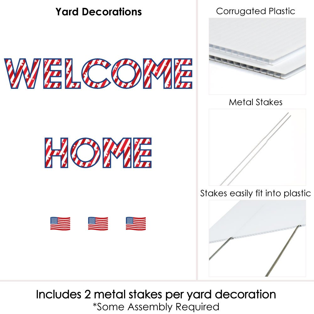 Amazon.com : Big Dot of Happiness Patriotic Welcome Home - Yard Sign ...