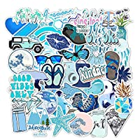 Homyu Blue Aesthetic Stickers Pack 50-Pcs Decals for Waterbottle Laptops Cars Motorcycle Portable Luggages Ipad Waterproof Sunlight-Proof
