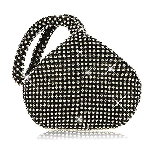 (Meeto Fashion Womens Glitter Clutch Bag Crystal Diamante Sparkly Silver Evening Bag Bridal Prom Party Handbag Purse (Black1))