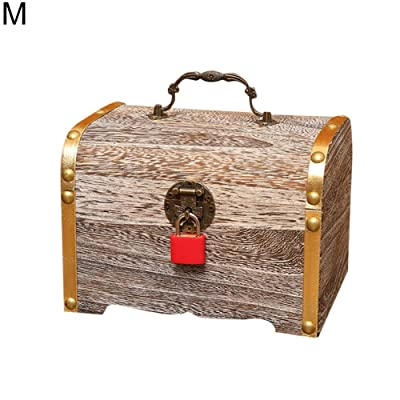 HEgh23ar Cute Money Coin Box Storage, Wooden Piggy Bank, Money Saving Jar,Piggy Bank for Kids M: Kitchen & Dining