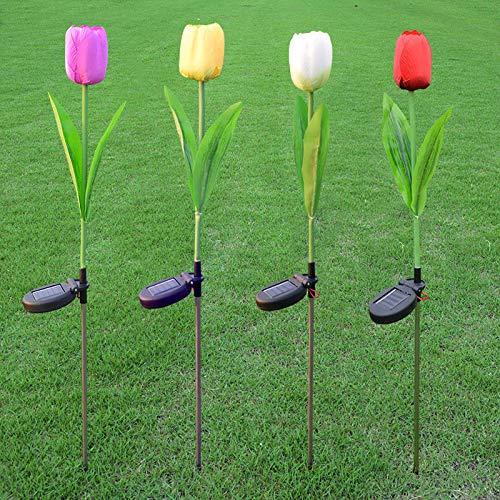 ビリワン チューリップソーラーライト 屋外ガーデン芝生経路パーティー用の装飾ライト(4個)   B07SZS258F