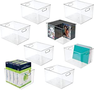 mDesign Plastic Storage Container Bin with Carrying Handles for Home Office, Filing Cabinets, Shelves - Organizer for School Supplies, Pens, Pencils, Notepads, Staplers, Envelopes, 8 Pack - Clear