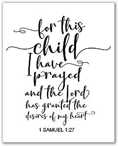 "Midoro for This Child I Have Prayed Printable - Unframed, New Baby Gift, 1 Samuel 1:27 Bible Verse Printable, Christian Printable Art, Nursery Decor, Nursery Wall Art (Christian, 8"" x 10"")"