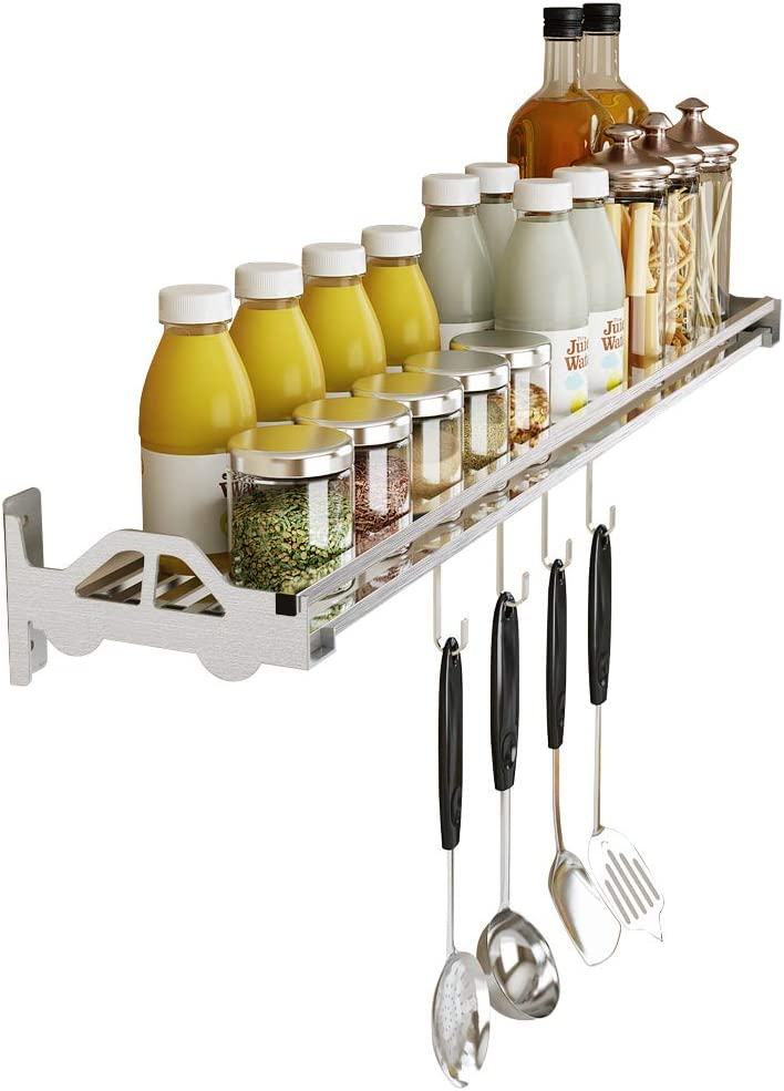 Wall Mounted Spice Rack Over Stove for Kitchen,304 Stainless steel Seasoning Rack for Cabinet.Hanging Rack for Pantry Herb Jar Bottle Cans Holder Shelf, with 4 Hooks Durable-SUS 304 Stainless(31.5)
