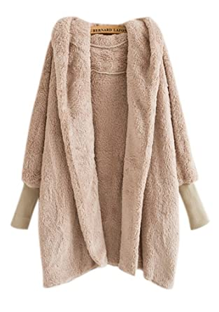 Apricot Faux Fur Coat Womens Shearling Blanket Jacket Oversized Hooded  Dolman Sleeve Lamb Overcoat 5f01b5d60c