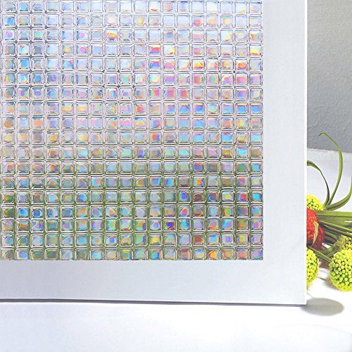 Clear Frosted Mosaic (Bloss Mini Mosaic No-glue Decorative Privacy Window Film Privacy Film For Any Smooth Surface)