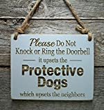 Protective Dogs Do Not Disturb Sign - Front Door Sign - No Soliciting Sign - Beware of Dogs