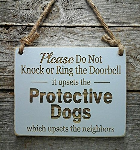 Protective Dogs Do Not Disturb Sign – Front Door Sign – No Soliciting Sign – Beware of Dogs