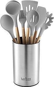 """Stainless Steel Kitchen Utensil Holder, Kitchen Caddy, Utensil Organizer, Round Shape Utensils Crock, 7"""" by 4.3"""""""