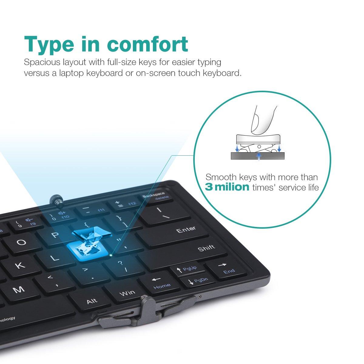 Bluetooth Keyboard Ec Technology Foldable Ultra Slim Portable