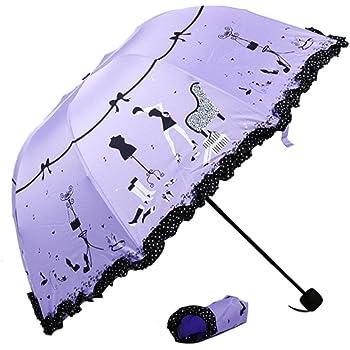 Cinhent Umbrella, Cute & Playful Flouncing Folding Lotus Leaves Princess Style Girls Dome Parasol Sun/Rain, Lightweight Portable Outdoor Carry - 107CM ...