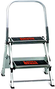 Little Giant Ladder Systems 10210BA Safety Step Stepladder with Handrail, 2-Step (Renewed)