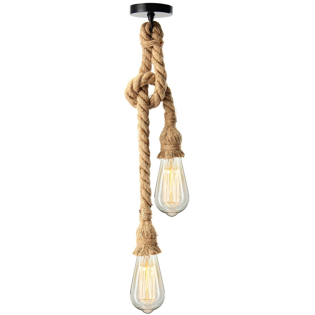 Kingso E27 Lamp Socket Vintage Edison Rope Hemp Ceiling Light Voltage Ac Pendant Holder Without Wire Chandelier No Bulb With 2 Holders