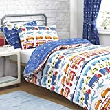 Traffic Cars Transport Blue Kids Junior Cot Duvet Quilt Cover Bedding Duvet Set by Textile Warehouse