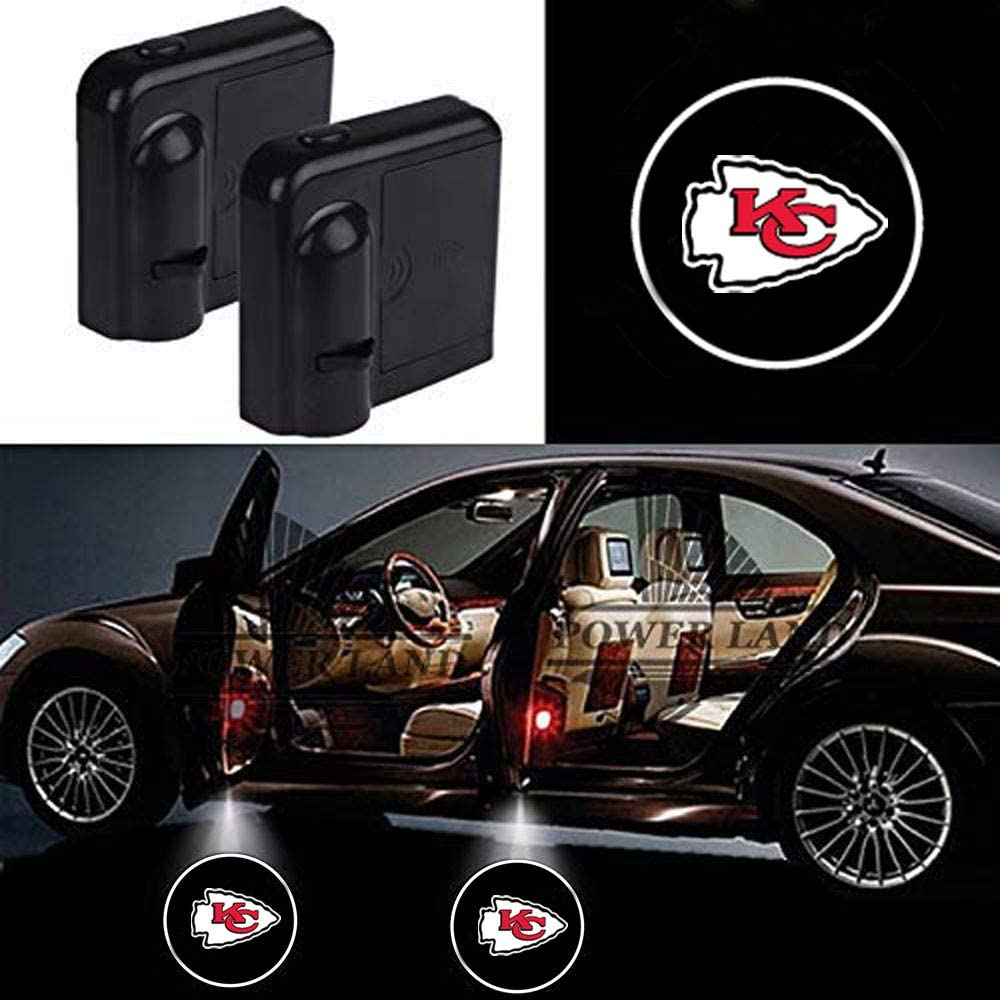 For Kansas City Chiefs Car Door Led Welcome Laser Projector Car Door Courtesy Light Suitable Fit for all brands of cars