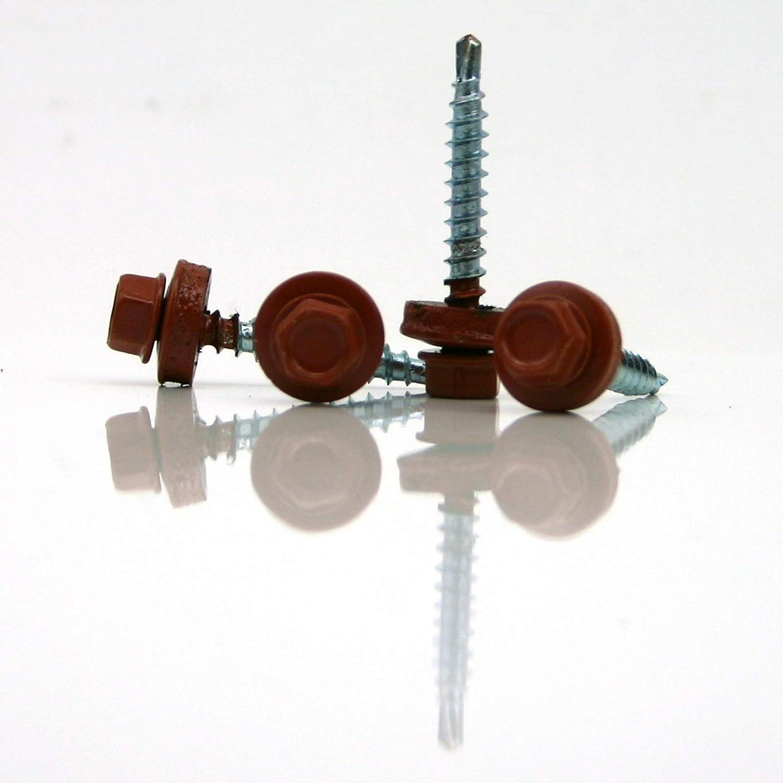 Trapezblechschrauben 4,8 x 20 mm selbstbohrend mit Dichtscheibe verschiedene Farben 50, kupferbraun - RAL 8004