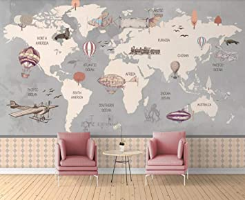 Pared Papel 3D Papel Pintado Murales Mapa Del Mundo Dibujado A ...
