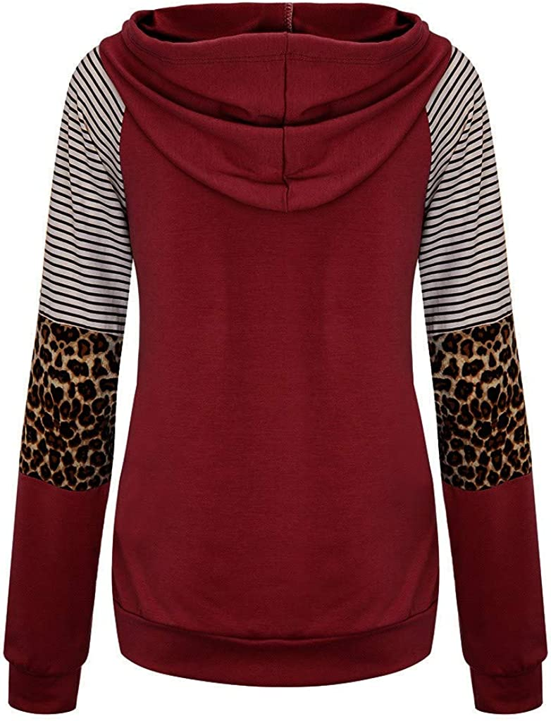 SGYH Casual Hoodie for Women Loose Leopard Splice Stripes Long Sleeves Sweatshirt Hooded Tops with Pocket