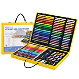 Artist art drawing set, Painting School Supplies Birthday Gift 112 Pieces Of High-end Art, Wood Art Supplies Painting, Portable Aluminum Box Essence Art Set Gifts for children and children.