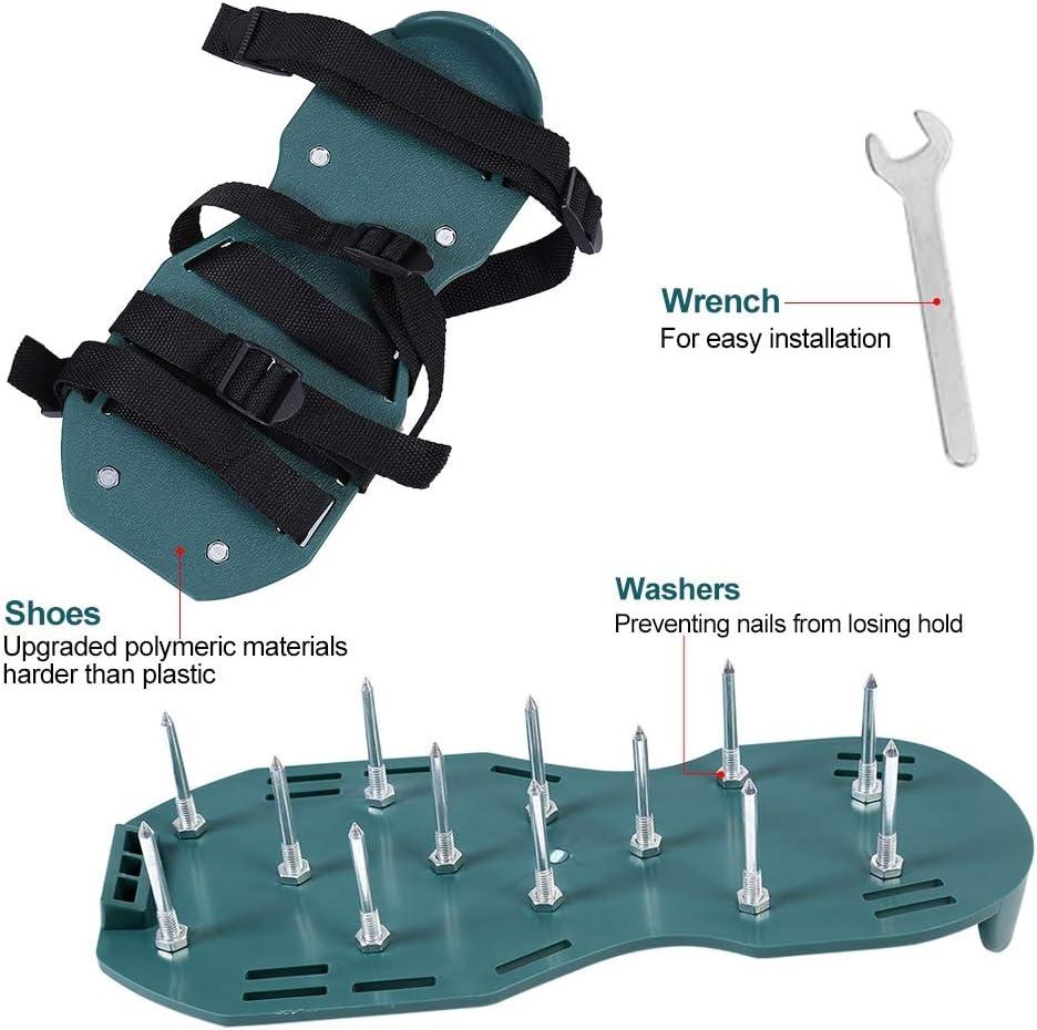 TOPINCN 1 par de Sandalias de aireador de c/ésped Calzador de aflojamiento del Suelo Zapatos con p/úas Jard/ín Zapatos Sueltos Herramienta de jardiner/ía para Jardines Verdes Espigas 3 Correas
