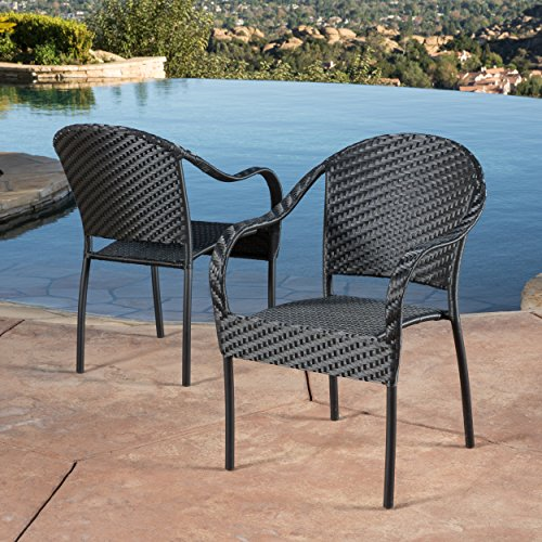 Christopher Knight Home 343310 Livingston Outdoor Black Wicker Chair (Set of 2)