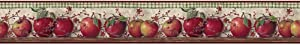 York Wallcoverings BH11-089-001-35 Country Keepsakes Just Apples Wallpaper, Taupe, Green, red, Brown