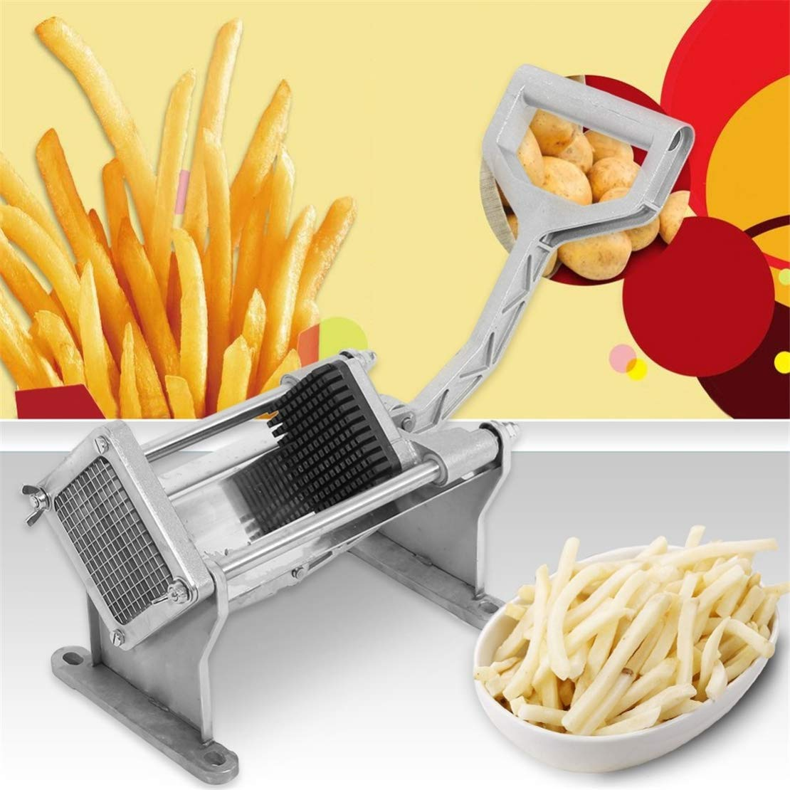Cool furniture Stainless Steel Potato Cutter Fruit Vegetable Slicer French Fry Chopper Tool with 4 Blades Manual Cutter Tool by Cool furniture