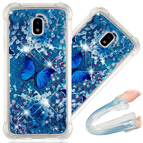 J5 Pro Case, 3D Cute Painted Glitter Liquid Sparkle Floating Luxury Bling Quicksand Shockproof Protective Bumper Silicone Case Cover for Samsung Galaxy J5 Pro 2017 SM-J530. Liquid - Blue Butterfly