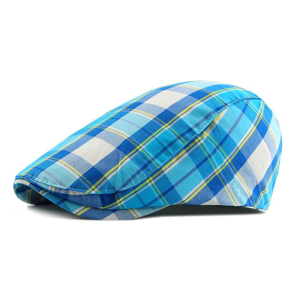 ZLSLZ Men's Unisex Newsboy Hat Cotton Flat Plaid Ivy Irish Cabbie Caps (967Skyblue)