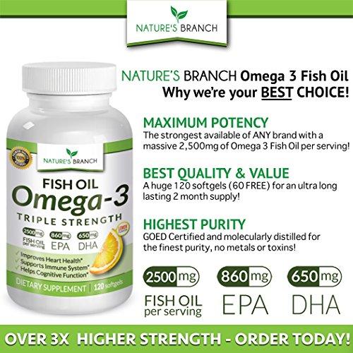 Best triple strength omega 3 fish oil pills 2500mg high for Best omega 3 fish