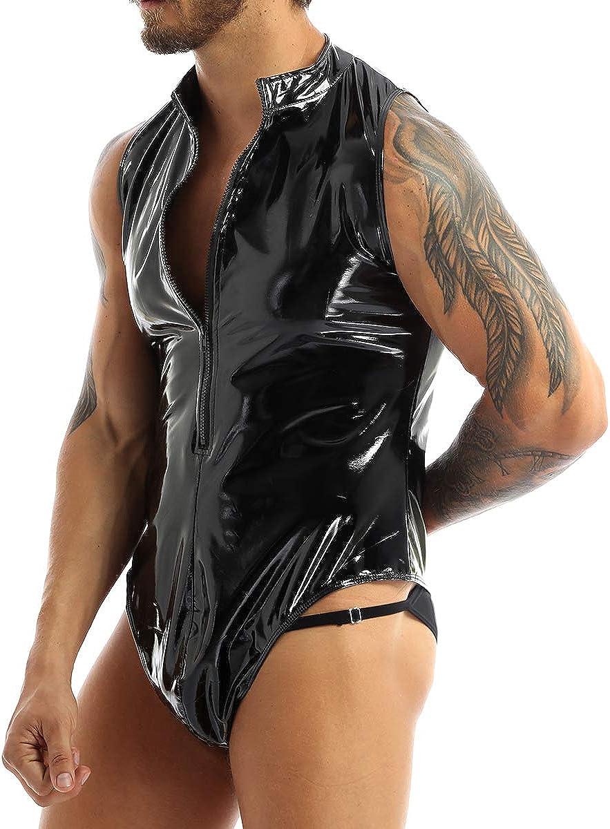 MSemis Mens Wet Look Patent Leather Sleeveless Zipper Crotch Leotard Bodysuit Catsuit Clubwear Costume