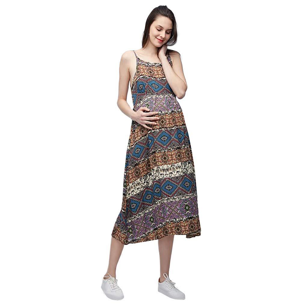 Lenfesh Sommer Umstandskleid Schwangere Long Spaghettiträger Tank Tops Shirt Kleid Damen Kleid Träger Rückenfreies Kleider Sommerkleider Strandkleider