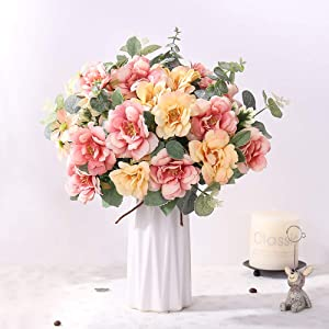 YUYAO Artificial Rose Flowers with Ceramic Vase Silk Flowers Fake Flower Bouquets Wedding Home Office Decoration (Rouge Pink)