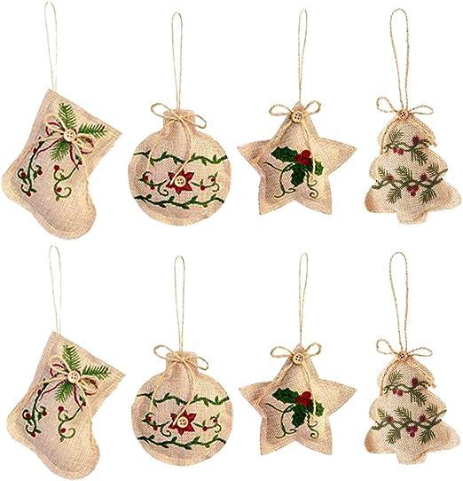 8 pcs Rustic Burlap Bows Christmas Tree Ornament,Home decor,Wedding decor