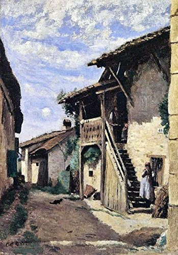 Wall Art Print entitled Jean-Baptiste Camille Corot - A Village Street, Da by Celestial Images