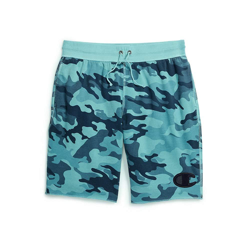 Cornflower Teal Camo Medium Champion Men's Vintage Dye Camo Shorts Felt C Logo