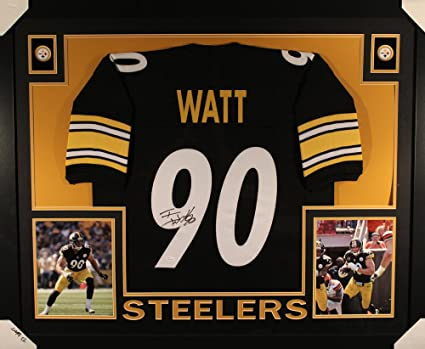 bf32e732a Image Unavailable. Image not available for. Color  TJ Watt Autographed  Pittsburgh Steelers Framed Black Jersey JSA