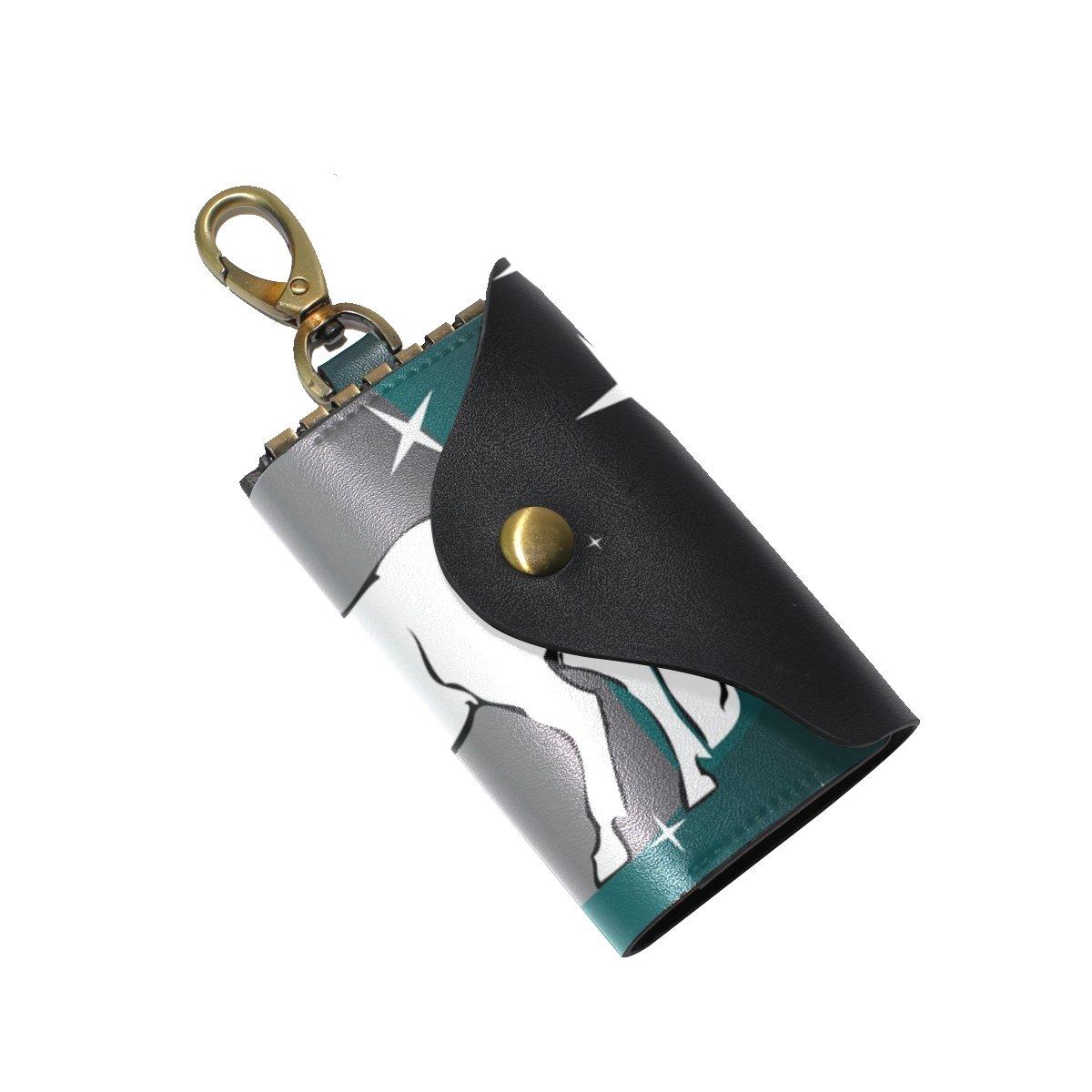DEYYA Forest Unicorn Leather Key Case Wallets Unisex Keychain Key Holder with 6 Hooks Snap Closure