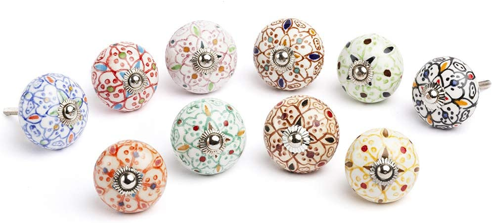 Artncraft Set Vintage Color Multi Designed Ceramic Cupboard Cabinet Door Knobs Drawer Pulls & Chrome Hardware