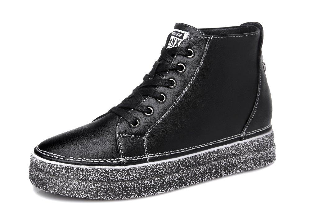 Youxuan Women's Winter Fashion Platform Flat Booties Zipper Girls Casual Walking Boots Black 5.5M US by Youxuan