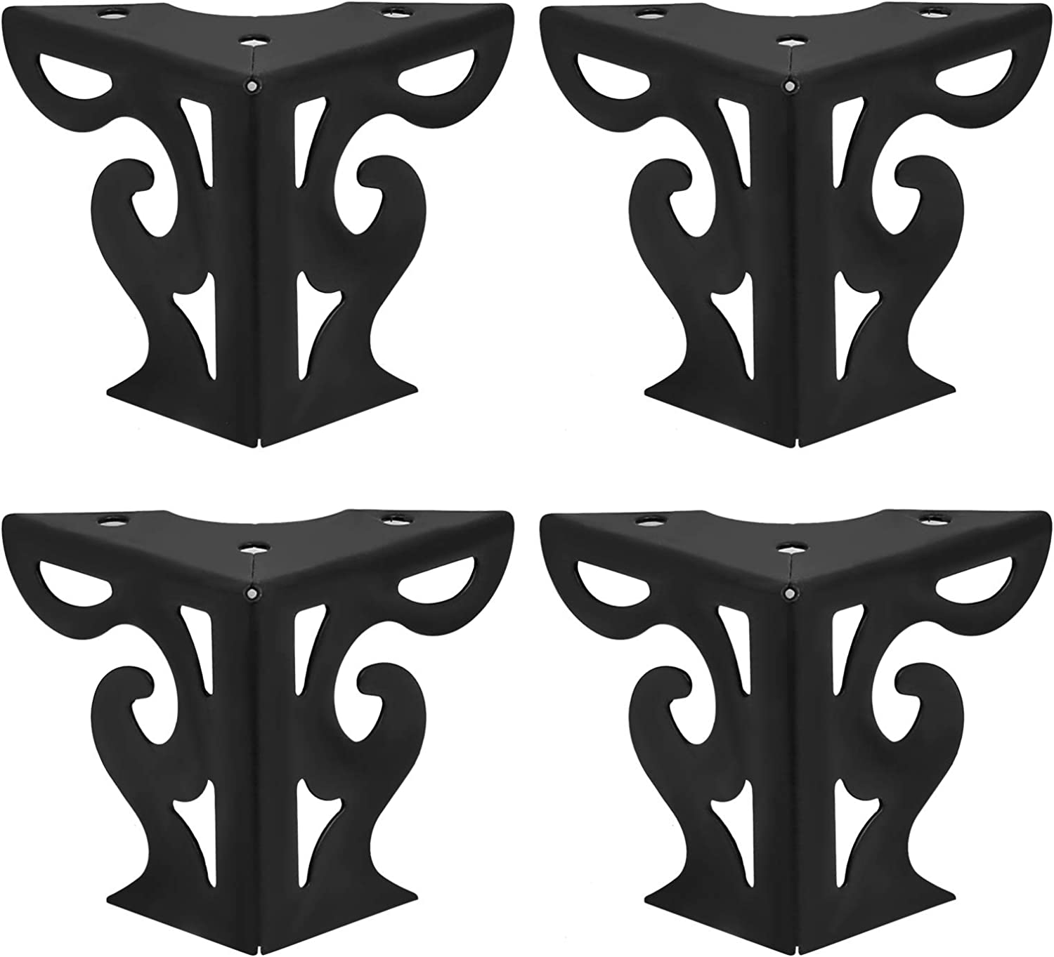 "Seimneire 4Pcs 3"" / 8cm Hollow Out artistic Furniture Sofa Legs, Matte Black Triangle Feet for Sofa Table Cabinet Bookcase Cupboard Couch"