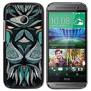 "Pulsar Snap-on Series Teléfono Carcasa Funda Case Caso para HTC ONE MINI 2 / M8 MINI , Teal Resumen Animal Ojos de la historieta"""