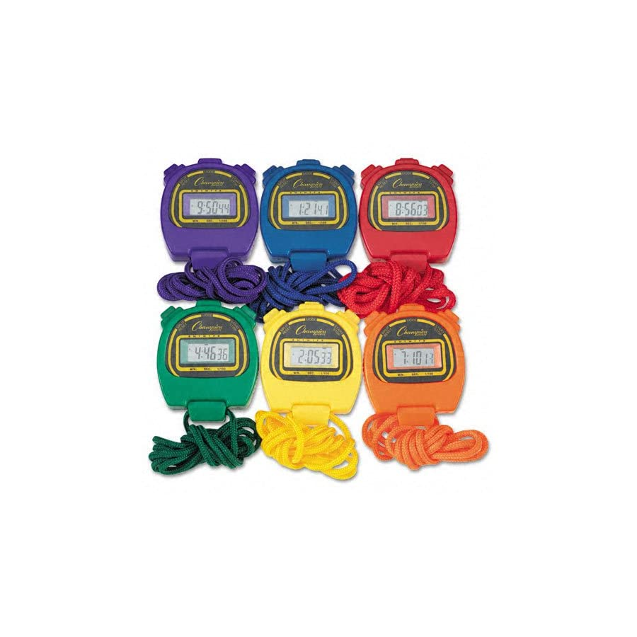 Champion Sports Water Resistant Stopwatches, 1/100 Second, Assorted Colors, 6 Per Set