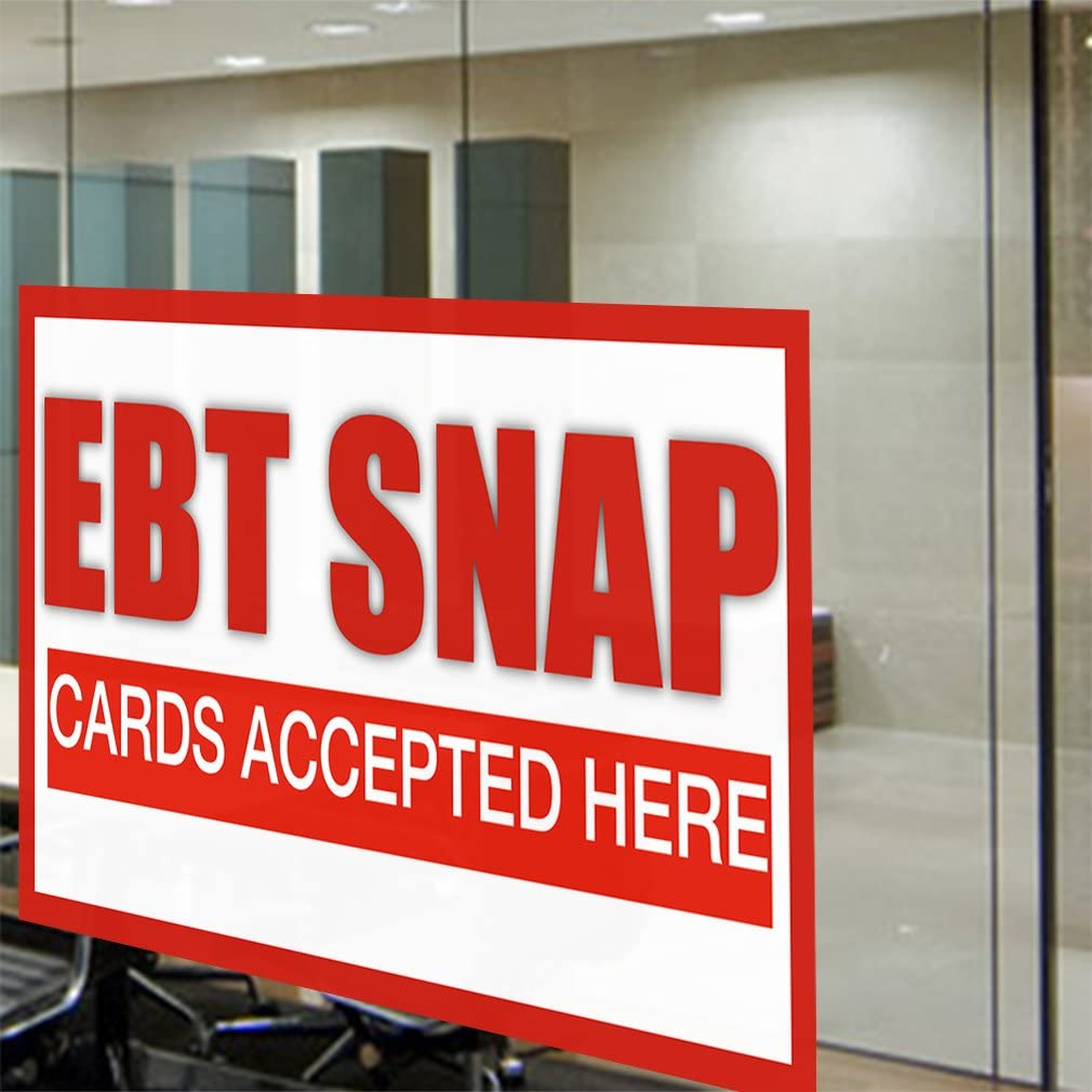 Decal Sticker Multiple Sizes Debt Snap Cards Accepted Here #1 Business EBT Snap Outdoor Store Sign White 40inx26in Set of 5