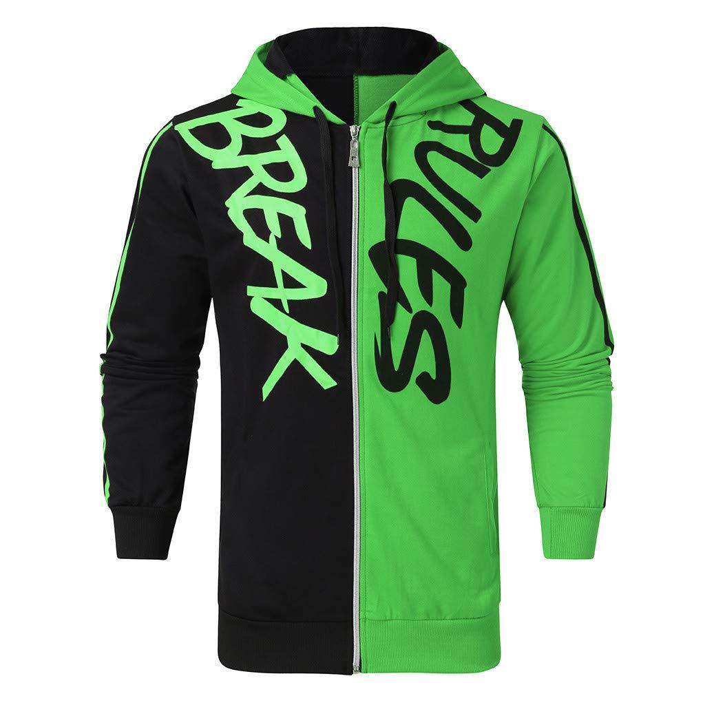 Litetao Men Fashion Hip Hop Streetwear Sportswear with Letter Print Full Zipper Patchwork Sweater Tracksuit